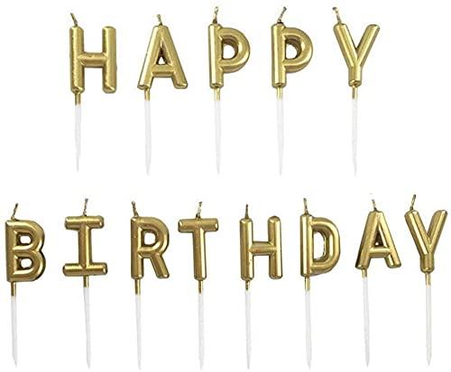Numero di candele dorate, per torte di compleanno, per festa di compleanno, matrimonio, anniversario, laurea, feste, consegna (oro, Happy Birthday)
