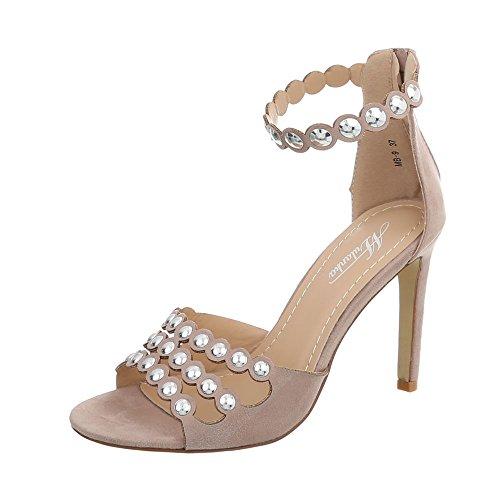 Ital-Design High Heel Sandaletten Damen-Schuhe Pfennig-/Stilettoabsatz Heels Reißverschluss Sandalen & Altrosa, Gr 40, Mb-9-