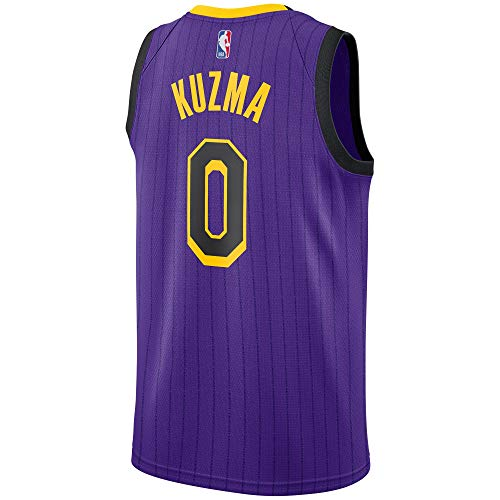 OuterStuff Kyle Kuzma Los Angeles Lakers #0 Youth Purple Stripe Alternate Swingman Jersey (Small 8)