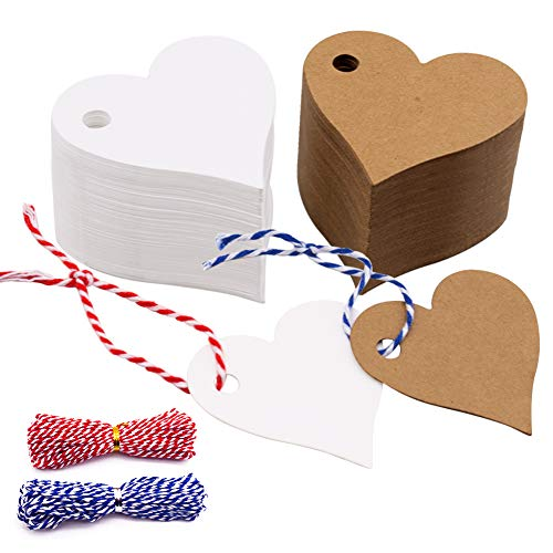 VGoodall 200 stk. Herz Geschenkanhänger Kraftpapier Etiketten Tags Kraftpapier Anhänger mit 20M Schnur für Hochzeit Geschenke Weihnachten