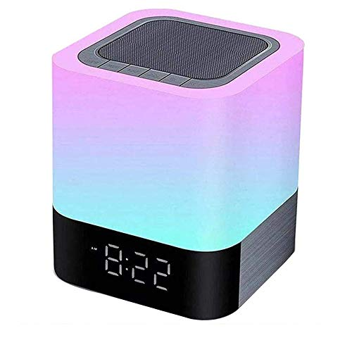 Bedside Lamp with Wireless Bluetooth Speaker, Color Changing Touch Sensor Night Lights RGB Dimmable Table Lamp for Kids, Digital Alarm Clock, MP3 Music Player, Speakerphone/TF Card/AUX-in Supporte