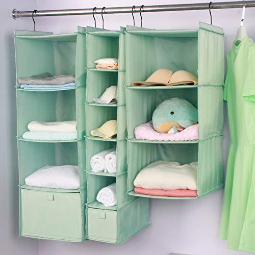 ZUEN Aufbewahrungstasche Kleidungsaufbewahrung Mit Großer Kapazität Hängende Tasche Kleiderschrank Hängende Art Oxford-Stoff Kleidungsaufbewahrung Waschbar,Green,6layers