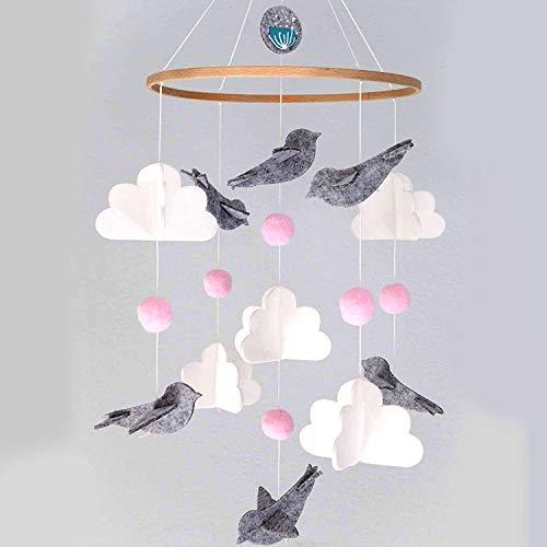 Campanas de cama, carillones de viento para cama infantil portátil, carillones de viento, campanillas de viento de fieltro, carillones de viento, música para niños y niñas (pájaro)