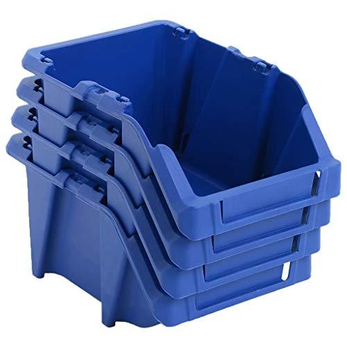 ghuanton Bac de Rangement empilable 250 pcs 103x165x76 mm Bleu Quincaillerie Accessoires de quincaillerie Organisation et Rangement d'outils Armoires à Outils