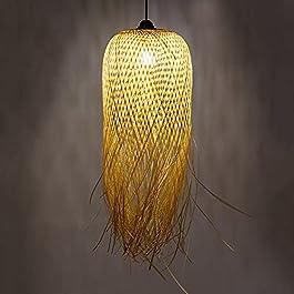 MONHE Bambou Pendentif Lampe Vintage Tissage Lustre Naturel Fait Main Tissé Rotin Suspendus Lumières Créatif Hauteur…