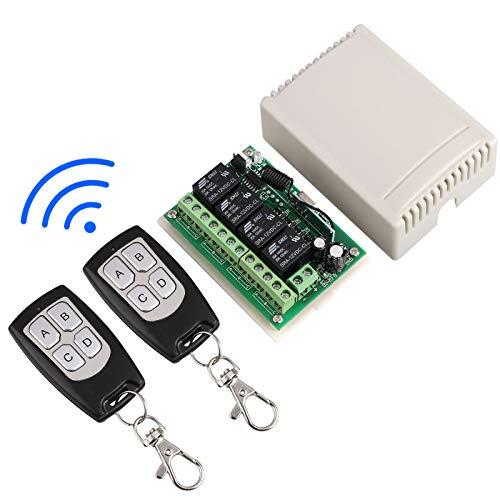 EEEKit 433 MHz Funkschalter, HF-Schalter Long Range DC 12 V 4CH Kanal Funkfernschalter mit 2 Sender (DC12V Relais Empfängermodul)