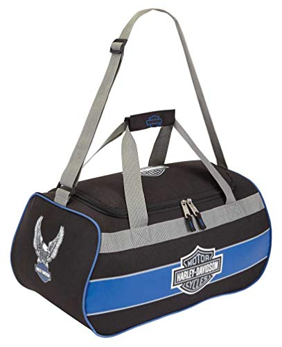 Harley-Davidson Bar & Shield Blue Trim Duffel Bag w/Strap 99418 BLUETRIM