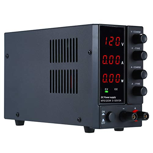 QWERTOUY Cambio de la tensión de alimentación Regulador de 3 dígitos de la Pantalla LED de 120 V DC 3A Mini Fuente de alimentación Ajustable Laboratorio de la Fuente de alimentación