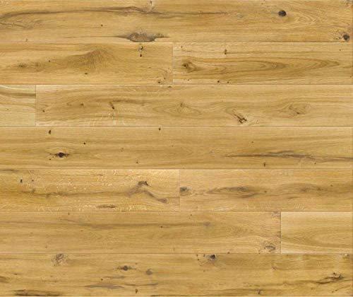 HORI® Klick Parkett 300 Dielenboden Parkettboden Eiche Vintage Landhausdiele gebürstet UV geölt I Eiche I 7 Dielen im Paket = 2,00 m²