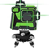 12 Lines Laser Level 3 x 360 Green Beam Straight/Tilt Line 3 Plane Cross Line Laser Self Balancing Rechargeable Rotary Base 3D Alignment IP54 Self Leveling Vertical/Horizontal Line Fine Tuning