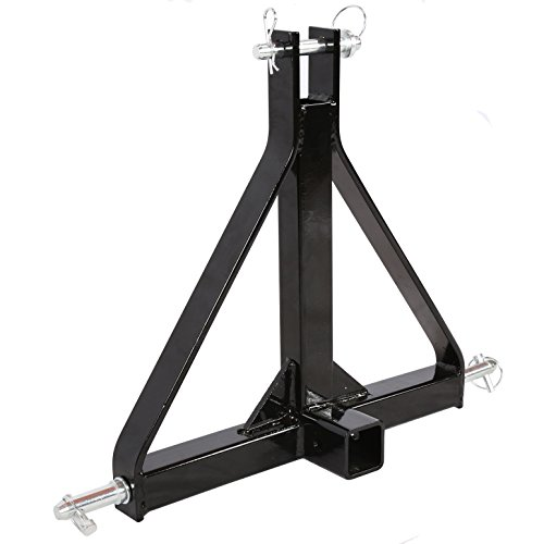 ECOTRIC 3 Point 2' Receiver Trailer Hitch Category 1 Tractor Tow Hitch Drawbar Adapter with One Year Warranty