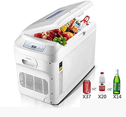 SUOMO 28 litros Mini refrigerador del Coche, Dual-Core Refrigeración, Portable compresor del congelador de refrigerador, la Temperatura mínima de -18 ° -65 ° Ajuste, 12 V / 24 V (Color : White)