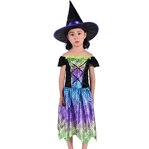 HBBMAGIC Magierin Hexenkostüm für Kinder Mädchen Halloween Kostüm Bedrucktes Kleid mit Hexenhut (Violett, 5-6 Jahre)