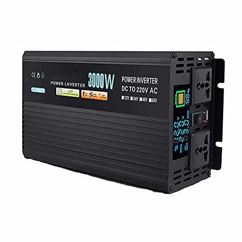 SJZD Inversor de Onda sinusoidal modificada, inversor de Corriente DC 12V / 24V / 48V / 60V a AC 220V, convertidor de Voltaje del vehículo con Enchufe y Pantalla LCD, 12V-3000W