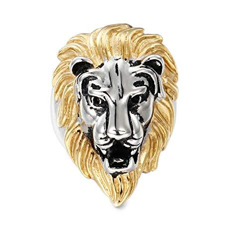 Aienid Ringe Herren Biker Löwenkopf Silber Gold Ring für Herren Size:57 (18.1)