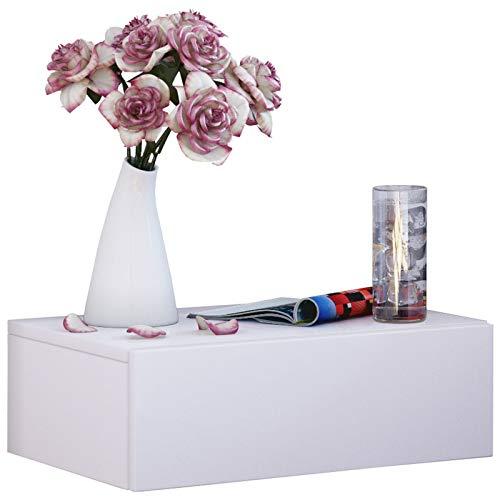 VCM Wand Nachttisch Wandschublade Schublade Tisch Nachtschrank Nachtkonsole Wandboard Regal Weiß 30x46x15 cm