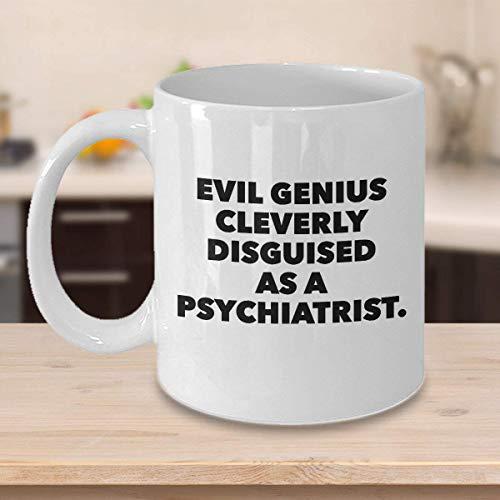 N\A Divertida Taza de caf para psiquiatra, Regalos Personalizados Personalizados para mdicos, farmacuticos, Enfermeras, Cuidadores, Genio Malvado inteligentemente Disfrazado