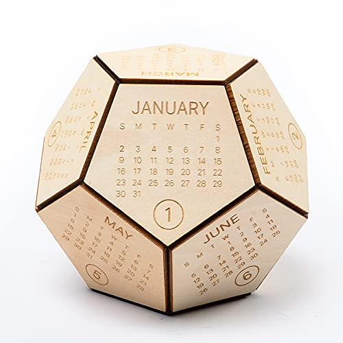 Wooden Hexagon Shaped 12 Sided Calendar 2022 Desk Calendar with Wooden Christmas Ornaments, 4.9 x 4.9 x 3.9 in, Wood Desk Calendar, Christmas Gifts, New Year Employee Gift, Gifts for Women