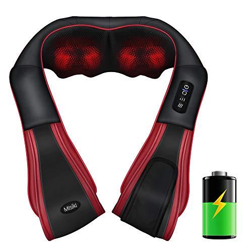 Misiki Massagegerät Shiatsu Nackenmassagegerät mit Wärmefunktion Elektrisches Massagegerät für Nacken Schulter Rücken 3D-Rotation Massage Längerer Schultergurt und Befreien Ihre Hände