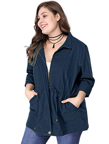 Agnes Orinda Women's Plus Size Jackets Lightweight Anorak Drawstring Utility Jacket Dark Blue 1X