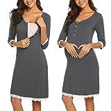 Ekouaer Women's Nursing Nightgown Button Maternity Dress Breastfeeding Hospital Gown Sleepwear Sleeveless Nightdress(Dark Grey M)