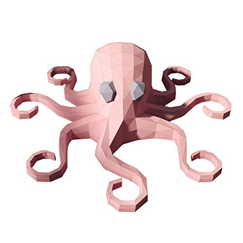 Corlidea Papercraft DIY 3D Papier Tiere Wanddeko Papercraft Building Kit Origami Papier Modell Ornament DIY Spielzeug für Kinder Kleinkinder Geschenke für Männer und Frauen (Pink Octopus 80x80x22cm)