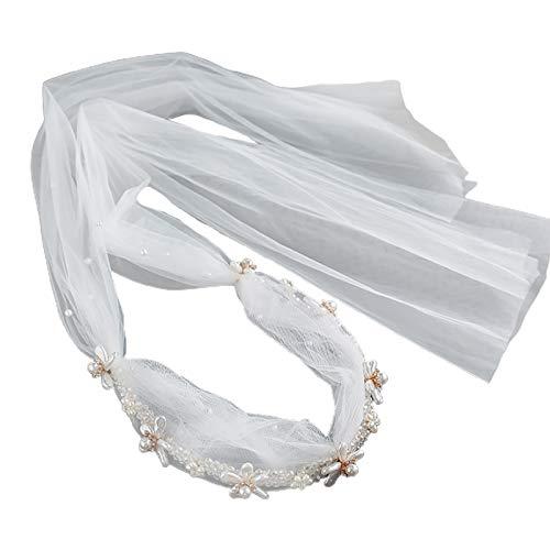 MYhose Diadema Nupcial de la Boda del aro del Pelo con Velo de Malla Cadena de Cristal sintético Flor de Perla Aro de Pelo Beige Blanco