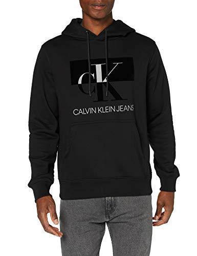 Calvin Klein Jeans Herren Big Ck Flock Hoodie Pullover, Black, XXL