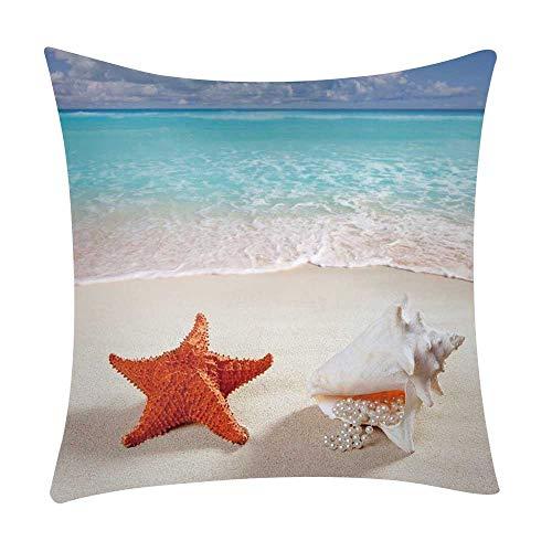 Mamum - Couverture de Coussin de Voiture de Sofa de Polyester de taie d'oreiller d'impression de mer décor à la Maison (E)