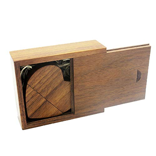 USB 3.0 - Chiavetta USB in legno a forma di cuore con scatola regalo, JBOS chiavetta USB in legno 32 GB USB 3.0 Super-Speed Flash Drive scatola in legno per compleanno, matrimonio, fotografia