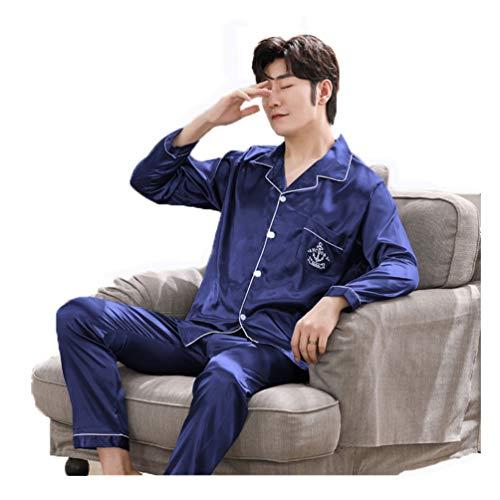 Herren Pyjama Lang Klassische Satin Schlafanzug Nachtwäsche mit Langen Ärmel Loungewear Hausanzug Loungewear Zweiteilig Eine Tasche Auf der Brust Elastischer Bund,001,XXXL