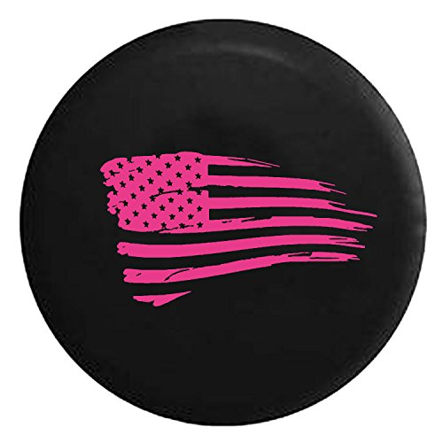 Waving American Flag Military Spare Tire Cover fits SUV Camper RV Accessories Pink Ink 32 in