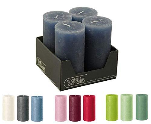 Velas de gran calidad y rústicas – 4 unidades – SafeCandle – Velas de cera/Rustickerz/Adviento velas Navidad (zafiro, tamaño grande: altura 14 cm/diámetro 7 cm)