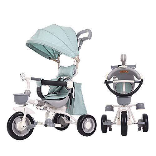 AI-QX baby driewieler kindertrike 4 in 1 wandelwagen afneembare luifel rit op 3 wielen veiligheidsbescherming