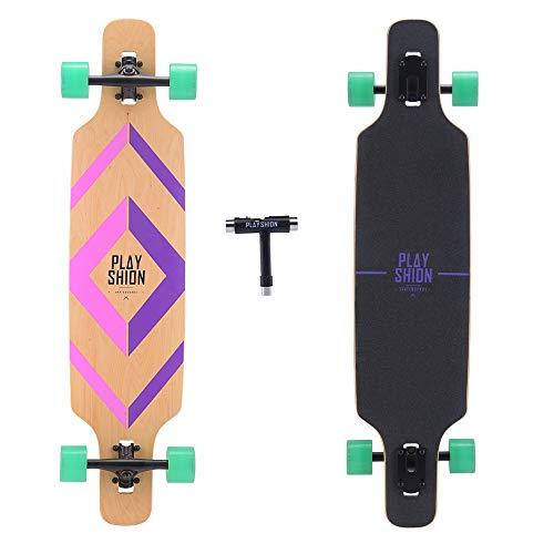 Playshion 39 Inch Drop Through Freestyle Longboard Skateboard Cruiser Purple