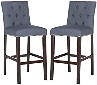 Safavieh Home Collection Norah Navy and Espresso Barstool (Set of 2)