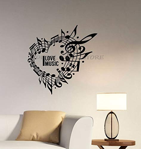 Tianpengyuanshuai Me Encanta la música corazón Etiqueta de la Pared Nota Musical Clave de Sol Etiqueta de Vinilo Logotipo de la música decoración del hogar habitación -42x42cm