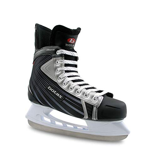 Botas - Attack 181 - Men's Ice Hockey Skates | Made in Europe (Czech Republic) | Color: Black with Silver, Adult 7.5