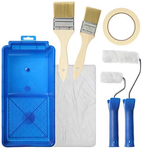 com-four® 9-teiliges Maler-Set - Pinsel, Farbroller und viel Zubehör für Renovierungs- und Dekorationsarbeiten