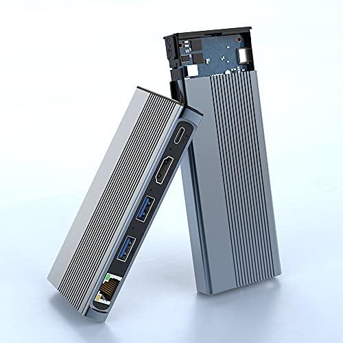 USB C Hub mit M.2 NVME und SATA SSD Gehäuse, USB 3.1 Gen 2 Dockingstation mit 4K HDMI, 2 USB 3.1 Anschlüsse, Gigabit Ethernet, 60W PD, M.2 SSD Externes Festplatten für MacBook und Mehr USB C Laptop