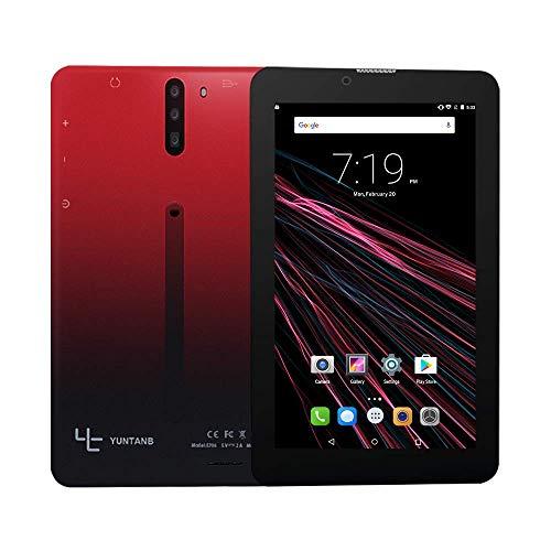 Tablet 7 Pulgadas con Sim y WiFi YUNTAB,Google Android 7.0,Dual SIM,1GB RAM 16GB ROM,Quad-Core,Full HD Display,GPS,Bluetooth,OTG(Rojo)
