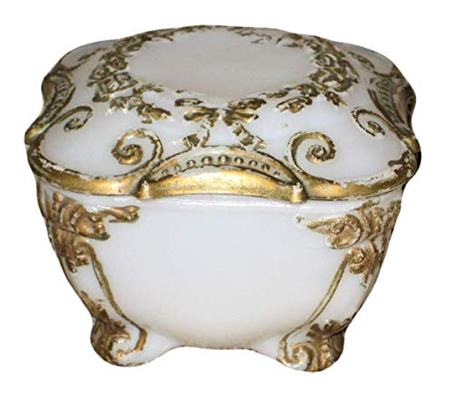 Vintage Milk Glass & Gold Gilded 3x3x2 Inch Footed Trinket Jewelry Box