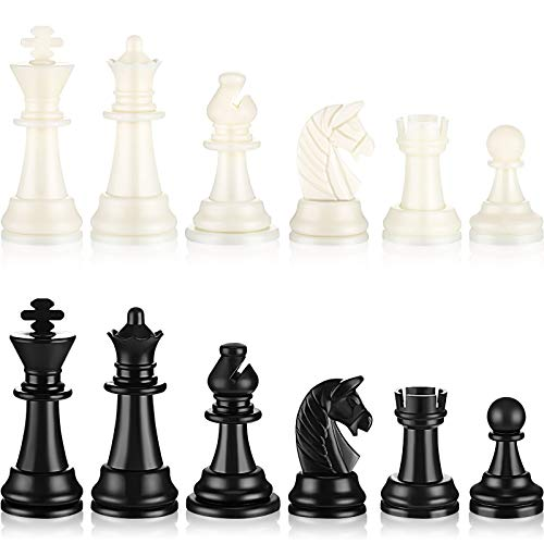 Chess Pieces Plastic Pawn Chess Pieces 95 mm/ 37 Inch King#039s Height Tournament Chess Set with Storage Bag for Chess Board Game Set of 32 Chess White and Black Pieces Only