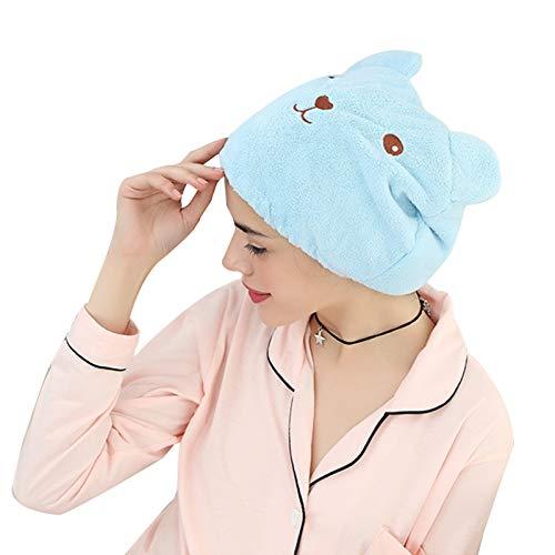 WFF sombrero 2 PCS Toallas de secado del cabello absorbente ultra suave, toalla de baño de secado rápido Microfibra Secado rápido Cap de toalla de pelo para mujeres adultos o niños gorro de puntogorra