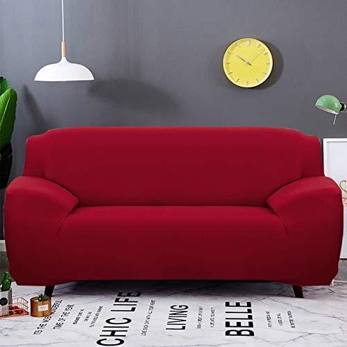 WYSTLDR Wohnzimmer einfarbige Stretch-Sofabezug, elastische Sofabezug, Haushaltsgegenstände L-förmiger Sesselbezug rot 1 Sitz 90-140CM