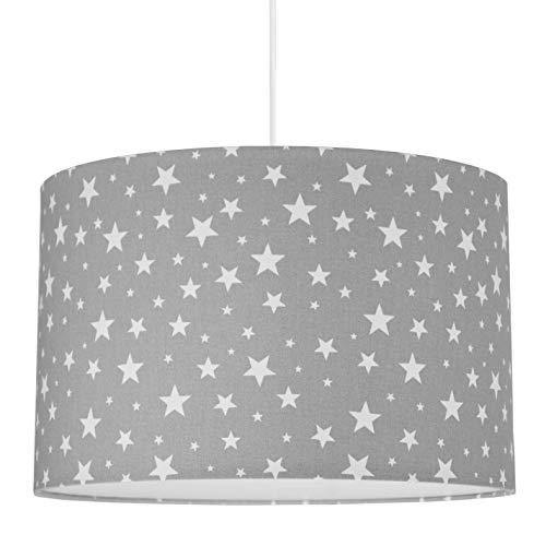 youngDECO Lampe für Baby- und Kinderzimmer, mit grauen Sternen, großer Lampenschirm 38x24cm, tolle Kinderzimmer-Deko für Mädchen & Jungen, komplette Deckenlampe für Kinderzimmer, hergestellt in der EU