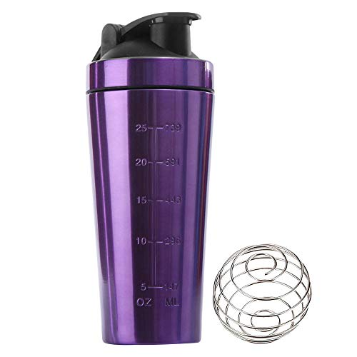 KAIYAN Stainless Steel Protein Powder Shaker Cup Protein Shaker 1L Large Capacity Diet Shakes Mixing Bottle Leak Proof Fitness Shaker Training Water Bottle to Go Drinking Cup Purple