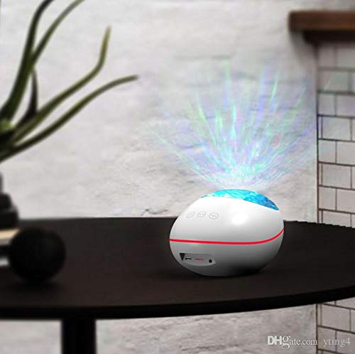 Meneflix Lucky Stone Ocean Wave Projector LED Night Light Remote Control TF Cards Music Player Speaker Aurora Water Wave Projection 5