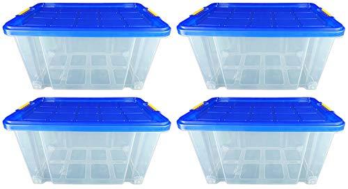 Novaliv 4X Plastikboxen mit Deckel Rollen 80l 61x40x46 transparent Transparent Blau Maxi Boxen Aufbewahrung Eurobox Rollbox Plastikbox Plastic containers Shoe Box