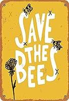 すみませんミツバチにレトロな金属スズのロゴレトロなアルミのロゴを与えて家族のコーヒー壁に8×19インチの装飾をしています